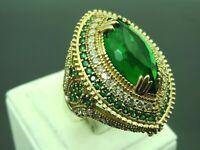 Turkish Handmade Jewelry 925 Sterling Silver Emerald Stone Women Ring Sz 8