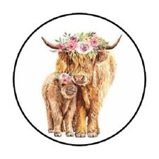 """48 Farm Cow With Flowers Highland Cow Envelope Seals Labels Stickers 1.2"""" Round"""