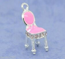 10 Silver Tone Pink Enamel CHAIR CHARMS with Rhinestones DIY Jewellery NEW