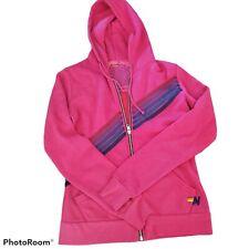 Aviator Nation Disco Stitch Stripe Pink Zip Up Hoodie Sweater Jacket