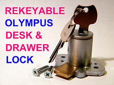 DESK LOCK, HEAVY DUTY, OLYMPUS 4/5-PIN, SATIN FINISH with 2 KEYS (REKEYABLE)