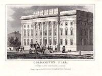1840 Victoriano Estampado ~ GOLDSMITH'S Hall ~ Foster Lane Cheapside Londres