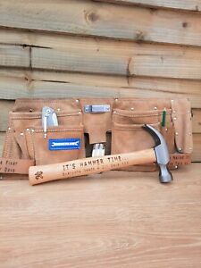 Personalised 11 Pocket Tool Belt suede leather and 16oz Hammer Gift Set