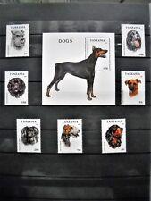 Tanzanie : Lot de 7 timbres & 1 Bloc neufs  sur les chiens avec gomme d'origine