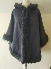 New Collection Women's Hooded Grey Fur Trim Poncho Size One Size