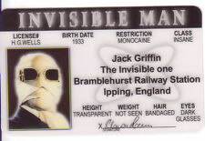 The Invisible Man Claude Rains  collectors card Drivers License
