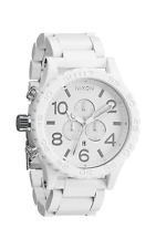 New Authentic Nixon Watch 51-30 Mens CHRONO ALL White Silver A083-1255 A0831255