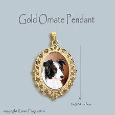 BORDER COLLIE DOG Black and White - ORNATE GOLD PENDANT NECKLACE