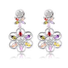 Platinum Plated Austrian Crystal MultiColor Amethyst Ruby Diamonique CZ Earrings
