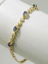 "14K Yellow Gold Ladies 7"" Sapphire & Diamond Box Link Bracelet"