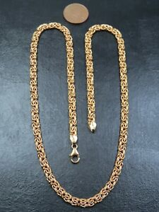 VINTAGE 9ct GOLD FLAT BYZANTINE LINK NECKLACE CHAIN 20 inch C.2000