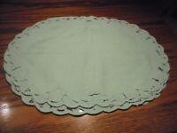 Set (4) Vintage Oval Placemats Scalloped Lace Trim Design Teal Elegant Decor  59