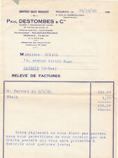 FACTURE PAUL DESTOMBES ROUBAIX 6 rue foch draperie 1960