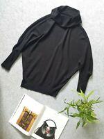 Intrend Maglia Maglione Nero Donna Maniche a pipistrello Collo alto ampio tg. L