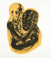 """Kunst in der DDR. """"Kopfwechsel"""" Lithographie Steffen VOLMER (*1955) handsigniert"""