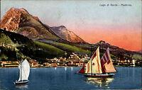 Lago di Garda Garda See Color AK 1928 Blick auf Maderno über den See Segelboote
