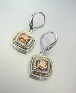 EXQUISITE 18kt White Gold Plated Brown Topaz CZ Crystal Petite Leverback Earring