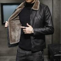 Herren Winter Gefüttert Pelz Kragen Reißverschluss Kurze PU-Leder Jacke Fashion