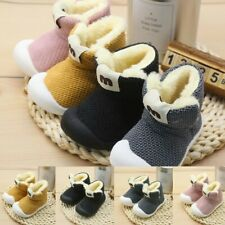 Toddler Infant Solid Boots Girls Boys Winter Warm Knit Short Booties Baby Shoes