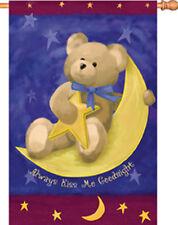 """Always Kiss Me Goodnight Teddy Bear Moon House (28"""" x 40"""" Approx) Flag Pr 52673"""