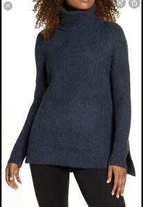 SWEATY BETTY Shakti Wool Blend Roll Neck Beetle Blue Size S Very Good Condition
