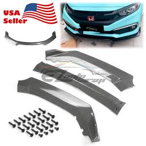 3PCS Carbon Fiber Front Bumper Cover Lip Body Kit For Honda Civic 2016-2018