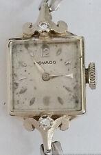 Retro Deco Movado 14k White Gold Diamond Ladies Vintage Running Wrist Watch