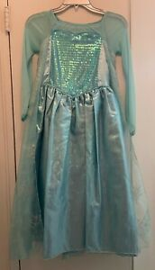 Disney Store brand Elsa dress costume with built-in cape, girls size 7/8