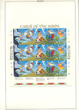 Palau #226a Christmas Birds 3v Strips of 5 on 1v Imperf Proof in Folder