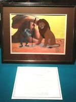 RAFIKI AND SIMBA LIMITED ED. DISNEY SERICEL FROM LION KING, NEW MINT COA FRAMED