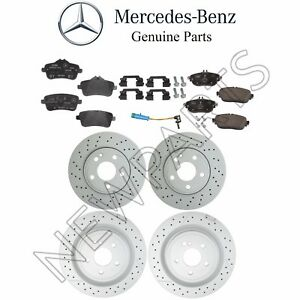 For Mercedes W117 CLA45 AMG Set of 2 Front Brake Disc w/ Pad Set & Sensor KIT