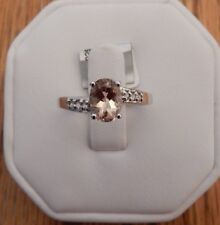 Size 7 Natural Champagne Quartz and White Topaz Sterling Silver Ring 1.17cts