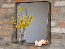 Distressed Gold Metal Industrial Vintage Chic Filigree Wall Mirror Shelf - 52cms