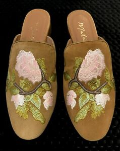 Matisse (made in Brazil) Tan suede leather, low heeled Mules US10 (~EU41)