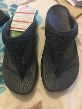 BNWT LADIES CROCS SLOANE EMBELLISHED FLIP FLOPS BLACK STANDARD FIT UK SIZE 6
