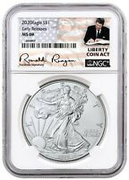 2020 1oz Silver Eagle NGC MS69 - ER Liberty Coin Act Label - PRESALE