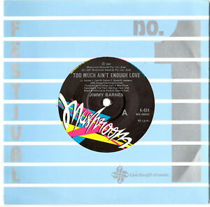 """JIMMY BARNES - TOO MUCH AIN'T ENOUGH LOVE - 7"""" 45 VINYL RECORD 1987"""
