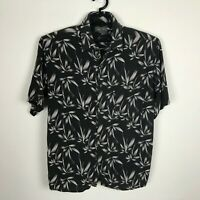 Bruno Mens Hawaiian Shirt Size L Rayon Black Floral Short Sleeve Button Down