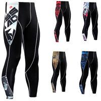 Mens Compression Athletic Sports Long Pants Running Base Layer Gym Legging Black