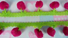 Hot Pink Lime Pompom Fringe Ball Lace Dangle Trim Gimp Ruffle Sewing Embroidered