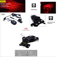 Car USB LED Interior Ceiling Star Light Starry Sky Red Galaxy Lamp Music Control
