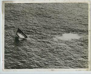 Italian Submarine Sinks Taken From RAF Flying Boat 1940 Press Photo