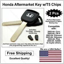 2 pak: Honda Replacement Lasercut Transponder Car Key Blank w/ T5 Clonable Chip