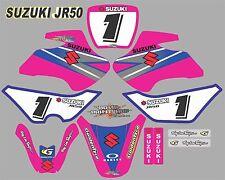 Suzuki JR50 PINK & BLUE Graphics Decals Fullset laminated stickers motocross