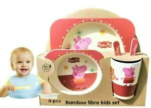 Kids 5 Pc Eco Friendly Bamboo Fibre Dinner Breakfast Set Choice from 4 Designs