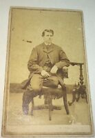 Rare Antique Victorian American Man, Odd Pose, Sitting Leg Amputee? CDV Photo!