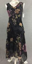 Dressbarn Layered Sleeveless Dress Womens Sz S Floral Print Black Purple Sequins