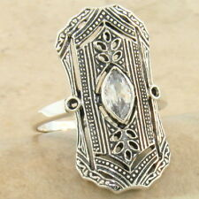 Classic Art Deco 925 Sterling Silver Sim Diamond Antique Style Ring Sz 10, #1047
