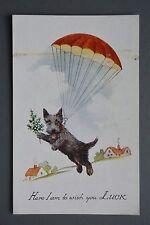R&L Postcard: Parachute Terrier Dog, Good Luck, Millar & Lang