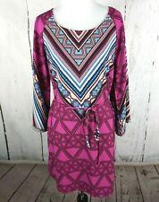PINK OWL Geometric Tribal Shift Dress Keyhole Small Pink Long Bell Sleeve